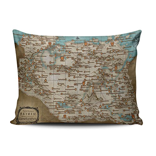 Price comparison product image ZeDae The Elder Scrolls V Skyrim Map Personalized Pillowcases Royal Decorative Pillow Case Cover 20x26 Inches Pillowcase One Sided
