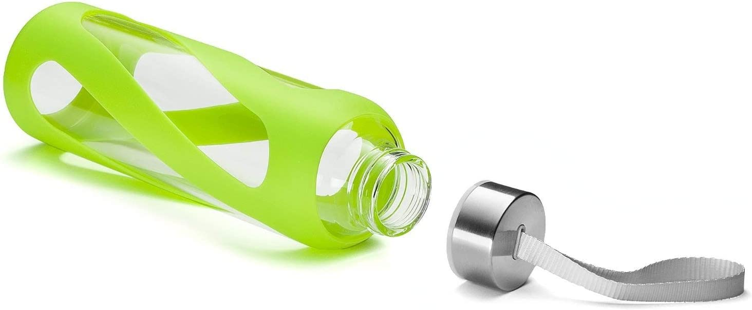Stylish Design Wide Mouth Reusable Drinking Container BPA /& Plastic Free SWIG SAVVY Glass Water Bottles with Protective Silicone Sleeve /& Stainless Steel Leak Proof Lid