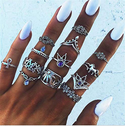 Sperrins Boho Style Vintage Punk Silver Rings Sets for Women Joint Knuckle Ring Set Plated Silver 13Pcs Unicorn Rings