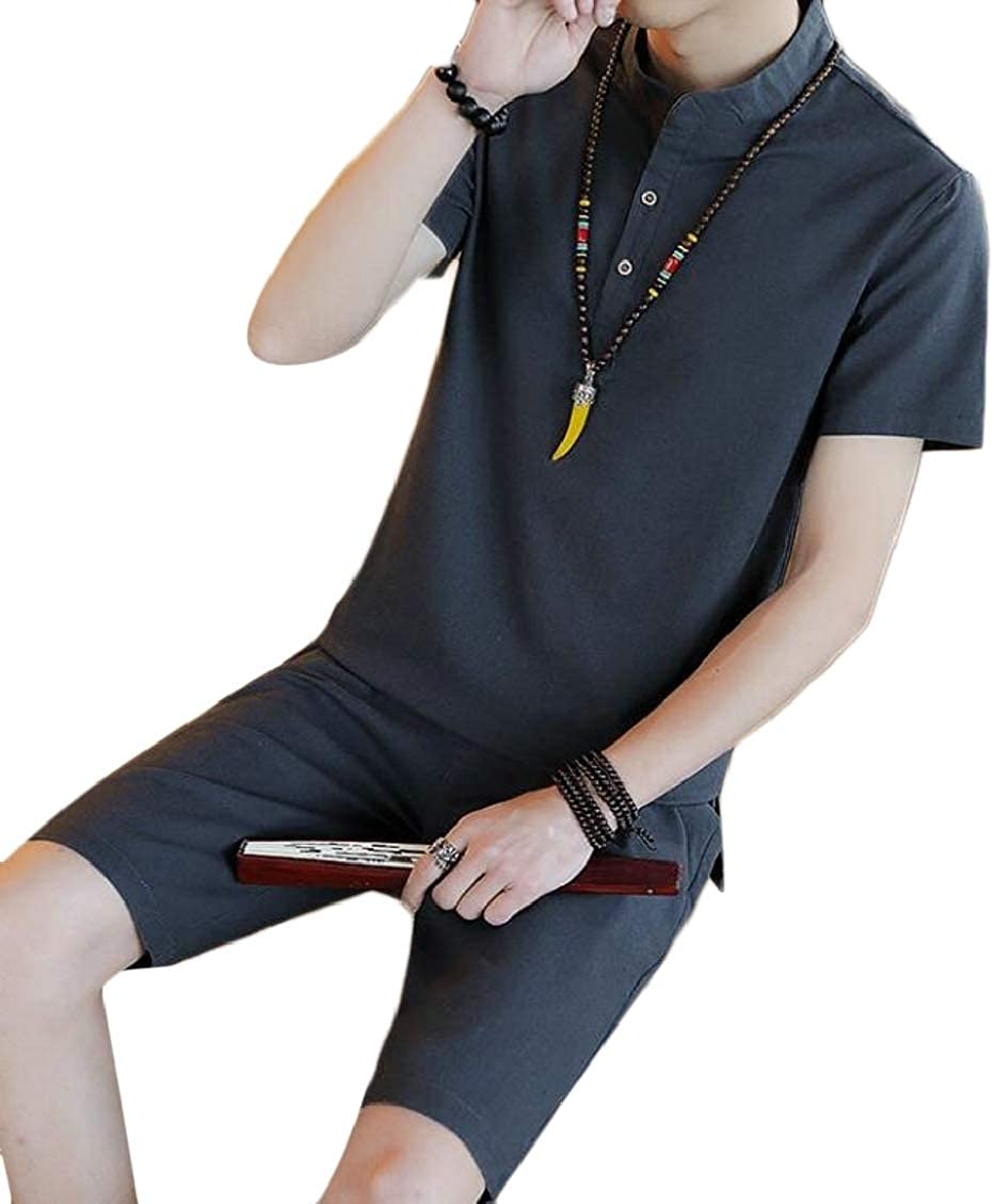 SELX Men 2 Pieces Casual Chinese Style Linen Shirts and Shorts Sweatsuit