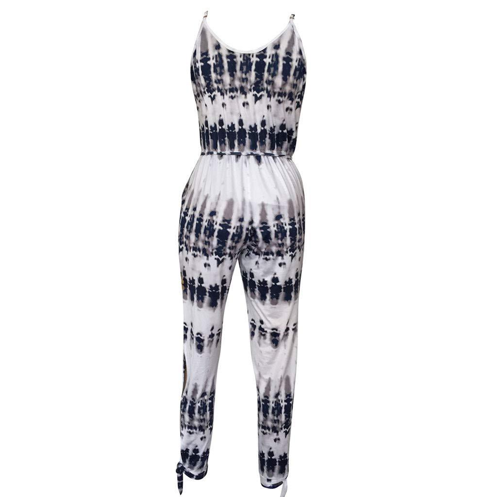Topgee Womens Spaghetti Strap V Neck Sleeveless Jumpsuit High Side Slit Romper