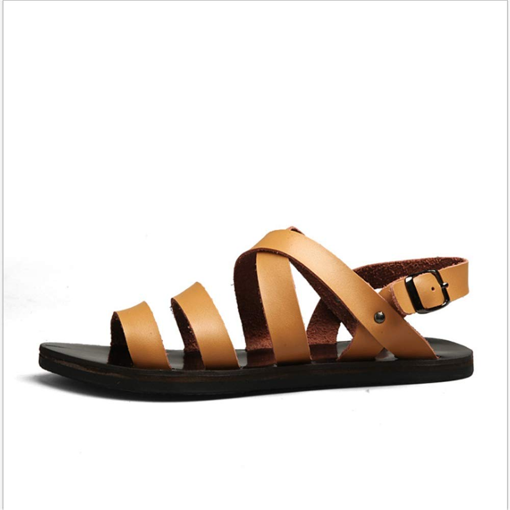 Zapatillas Sandalias Sandalias De Cuero para Deportes Y Ocio Al Aire Libre para Hombres Sandalias Antideslizantes (24.0-28.0) CM Zapatos de Playa 40 2/3 EU|Marrón