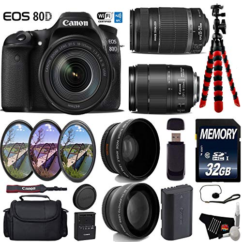 Canon EOS 80D DSLR Camera with 18-135mm is STM Lens & 55-250mm is II Lens + UV FLD CPL Filter Kit + Wide Angle & Telephoto Lens + Camera Case + Tripod + Card Reader - International Version -  6Ave