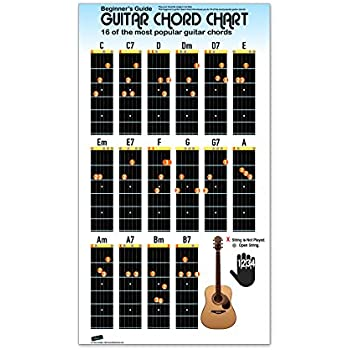 Amazon Com Guitar Chord Chart Poster For Beginners 16 Popular