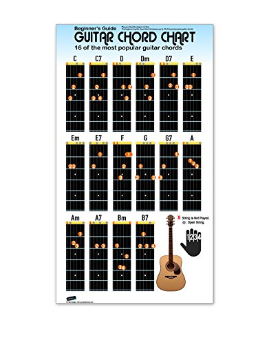 Guitar Chord Chart Poster for Beginners. 16 Popular Chords Guide. Perfect for Students and Teachers. Educational Handy Guide Chart Print for Guitar Music Lessons. 30in Tall X 17in Wide Poster -