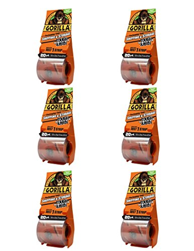 "Top Gorilla 6020010 Packing Tape Tough & Wide Multipack with Dispenser, 2.83"" x 20 Yd. , Clear, 6 Piece hot sale"