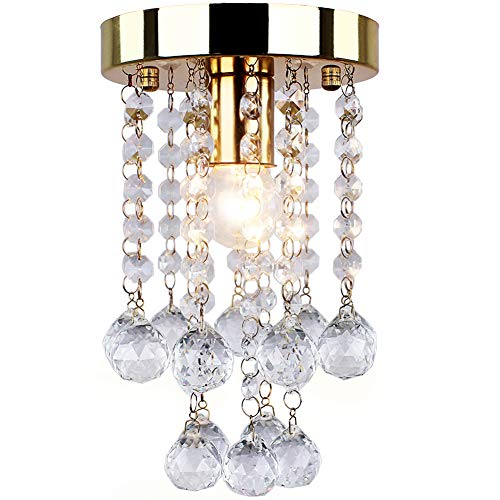 Modern Mini Crystal Chandelier Crystal Ball Fixture Ceiling Light Flush Mount Light for Hallway Bedroom Living Room Bathroom(Golden) ()