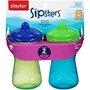 Playtex Sipsters Stage 2 Spill-Proof, Leak-Proof, Break-Proof Spout Sippy Cups - 9 Ounce - 2 Count (Color May Vary)