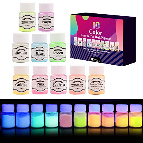 Glow in The Dark Pigment, Wtrcsv 10 Color Luminous Powder Non-Toxic Safety Pigment Powder for Paint, Slime, Nails, Resin, Concerts or DIY - 20g/0.7oz Each(Total 7oz) -