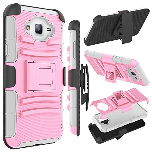 J7 Case, Galaxy J7 J700 Case, Zenic(TM) Hybrid Full-body Protective Case Cover with Kickstand & Belt Clip Holster Combo for Samsung Galaxy J7 (2015 Released) All Carriers (Pink/Grey)