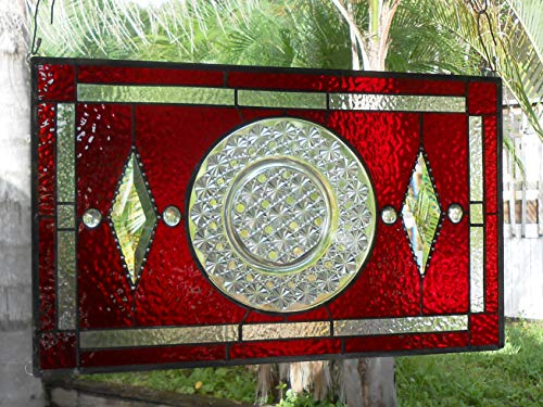 Stained Glass Panel, Vintage Transom Window, Antique Stained Glass Window Panel, EAPG Depression Glass