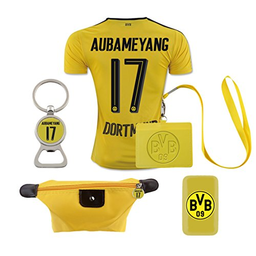 09 Jersey Replica - #17 Aubameyang (6 in 1 Combo) Dortmund Home Match Adult Soccer Jersey 2016-17
