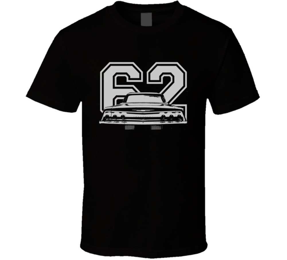 Cargeektees Com 1962 Chevy Impala Ss Faded Look Rear View Graphic With Year Dark T Shirt 5