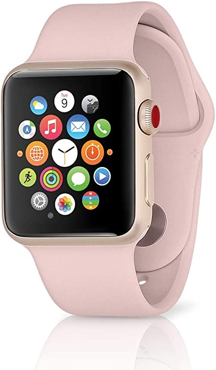 Apple Watch Series 3 42mm Smartwatch (GPS + Cellular, Gold Aluminum Case, Pink Sand Sport Band) (Renewed)