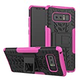 Note 8 Case, Galaxy Note 8 Case, Moment Dextrad [Built-in Kickstand] [Non-slip Design] [Shock Proof] Dual Layer Hybrid Slim Hard Bumper Cover for Samsung Galaxy Note 8 (2017) + Capacitive Stylus (Pink)