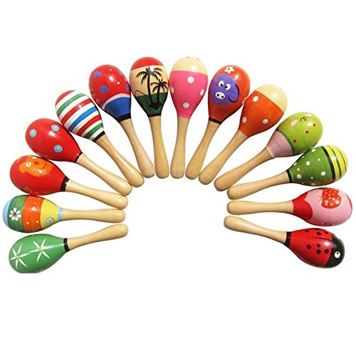 New Wooden Maraca Wood Rattles Egg Shaker Kids Musical Party Favor Kid Baby Shaker Sand Hammer Toy by E Support (Image #1)