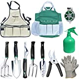 Ucharge 11 Pcs Garden Tools Set, Garden Tool Kit - 6 Large Aluminum Alloy Hand Tools,50m Bind Line,Spray Bottle,Work Gloves,Waterproof Canvas Gardening Apron and Tote Bag