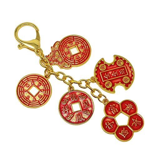 Feng Shui Success and Wealth Coin Amulet Coins Keychain W4133