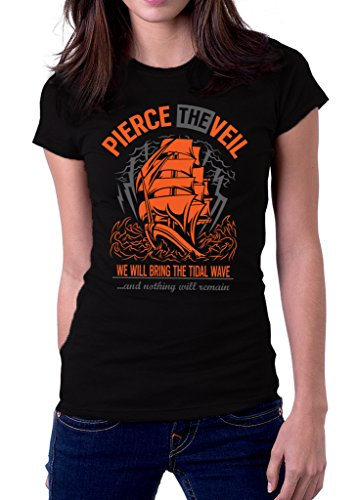 Pierce The Veil Band We Will Bring The Tidal Wave Logo Women's T-shirt Medium Black