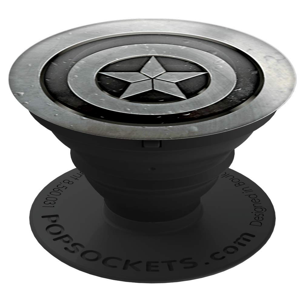 PopSockets: Collapsible Grip & Stand for Phones and Tablets - Marvel - Captain America MonoChrome