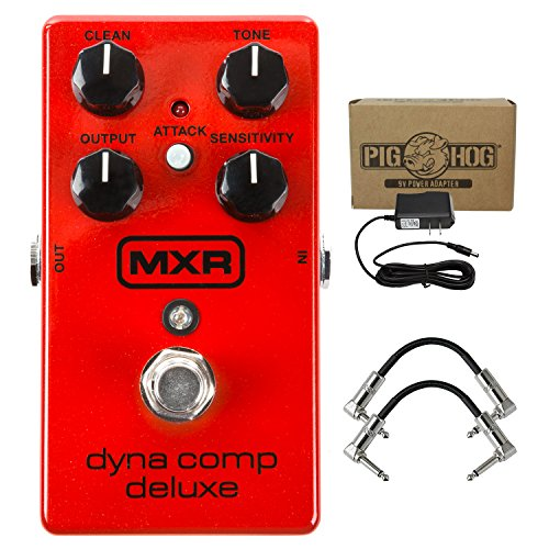 Dunlop M228 MXR Dyna Comp Deluxe Compressor Guitar Effect Pedal - Red with 9v AC Power Adapter and 2 R-Angle Patch Cable