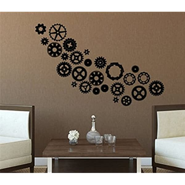 Yingkai Steampunk Gears Cogs Living Room Vinyl Carving Wall Decal Sticker For Home Decoration Amazon Com