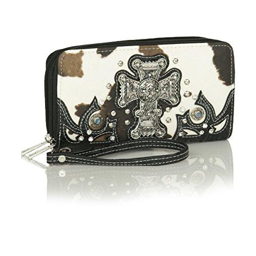 Cow Print Wallet Wristlet w/ Black Faux Embossed Leather, Cross Concho, Studs - Alligator Breast Pocket Wallet