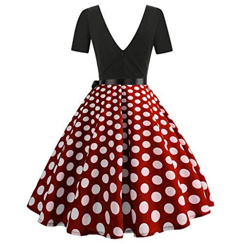 Ginli Vestito Donna Elegante Donna Senza Maniche Stampa Moda Vestiti Vintage Flare Abito Vestito Donna Manica Lunga da Cerimonia Audrey Hepburn Abito