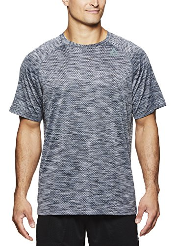 (Reebok Men's Supersonic Crewneck Workout T-Shirt Designed with Performance Material - Sleet Push Press, Small)