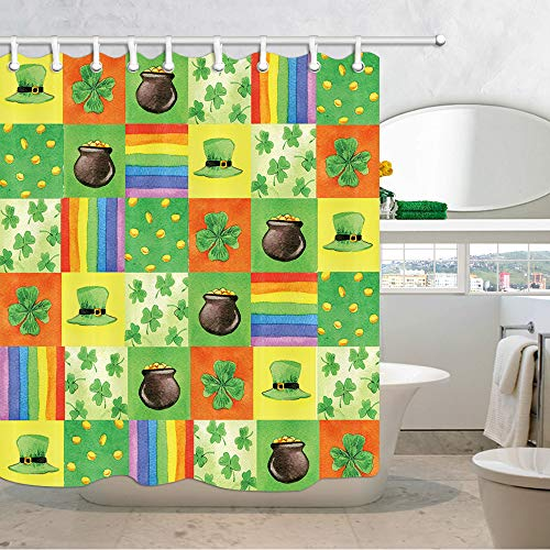 (NYMB St. Patrick Shower Curtain Set, Green hat, Gold Coins, Clover, Rainbow Stripes on Green Watercolor Wallpaper Shower Cutains for Bathroom, Waterproof Fabric Bath Curtain Hooks Included, 69X70in)