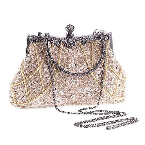 con in borsa Champagne Champagne Colore da sposa sposa donna sera vintage pratico borsa Borsa strass da Yzibei da da rilievo qwf7zZx