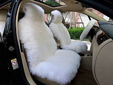 IMQOQ A Pair Genuine Sheepskin Long Wool Car 2 Front Seat Covers Set Winter Warm Universal Black