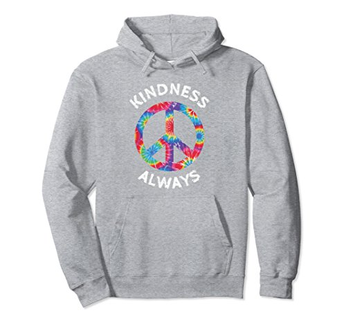 Unisex KINDNESS ALWAYS TIE DYE PEACE SIGN SPREAD JOY HOODIE Large Heather (Peace Sign Sweater)