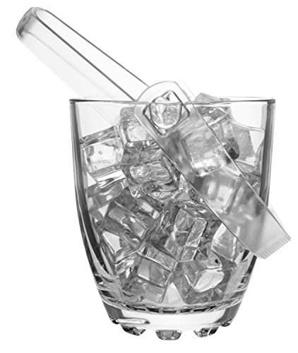 Clear Glass Mini Ice Bucket With Tongs For Parties And Daily Use
