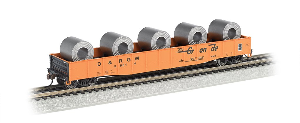 Bachmann Industries HO Scale D&RGW 50' 6'' Drop-End Gondola with Load (Steel Coil Load)