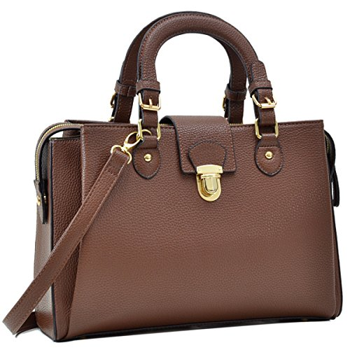 Dasein Women's Designer Pebbled Top Handle Satchel Handbag Shoulder Bag Work Bag Purse With Strap - Brown Chic Handbag