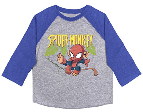 (Kidtee Boys' Toddler Baseball T-Shirt, Royal Spider Monkey 2T)