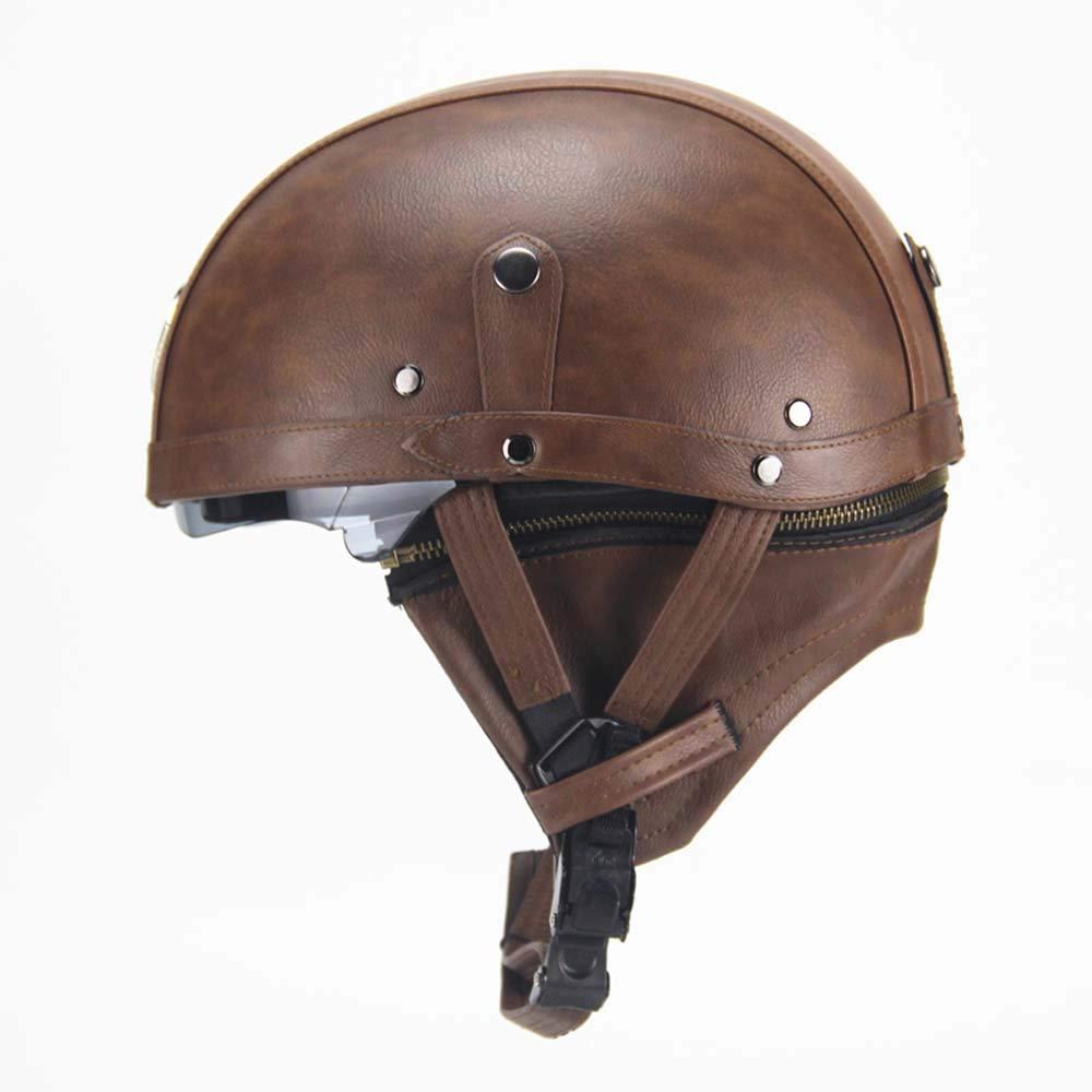 Vintage Harley-Helme mit Schnellverschluss f/ür Sonnenblende f/ür Bike Cruiser Scooter DOT LYJNBB Halber Motorradhelm aus PU-Leder mit offenem Gesicht