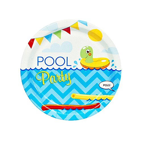 BirthdayExpress Summer Beach Ball Pool Party Supplies - Dessert Plates (8) -