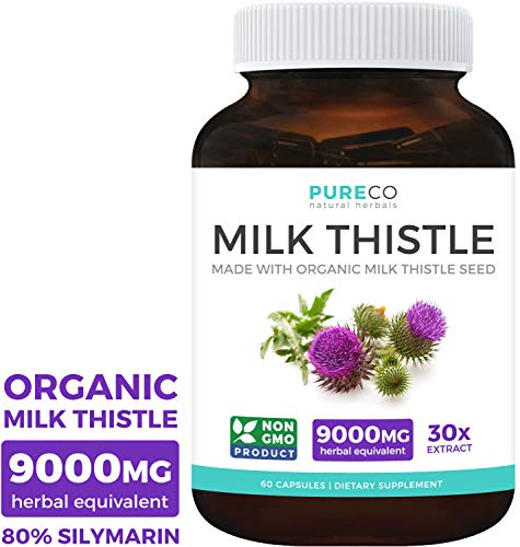 Organic Milk Thistle Extract (80% Silymarin) Super-Concentrated for 9,000mg of Milk Thistle Seed Power: Supports Liver Cleanse, Detox & Health - Vegan - 60 Capsules (Pills) (Best Quality Milk Thistle)