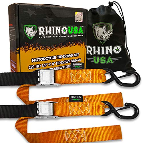 RHINO USA Motorcycle Tie Down Straps (2 Pack) Lab Tested 3,328lb Break Strength, Steel Cambuckle Tiedown Set with Integrated Soft Loops - Better Than a Ratchet Strap...