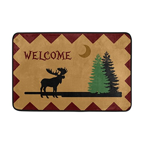 (Naanle Entrance Doormat Moose Elk Forest Moon Welcome Merry Christmas Machine Washable Rug Non Slip Mats Bathroom Kitchen Decor Area Rug 23.6x15.7 inch)