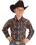 Wrangler Boys Long-Sleeved Dress Western Plaid Shirt, Red Plaid, Youth Medium