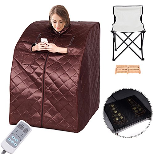Giantex Portable Far Infrared Spa Sauna Full Body Slimming Weight Loss Negative Ion Detox Therapy In Home Personal Sauna w/ Heating Foot Pad and Folding Chair (Coffee)