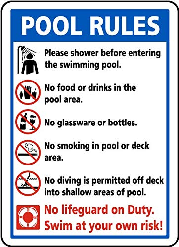 (Traffic Signs - Pool Rules Sign 9 12 x 18 Plastic Sign Street Weather Approved Sign)
