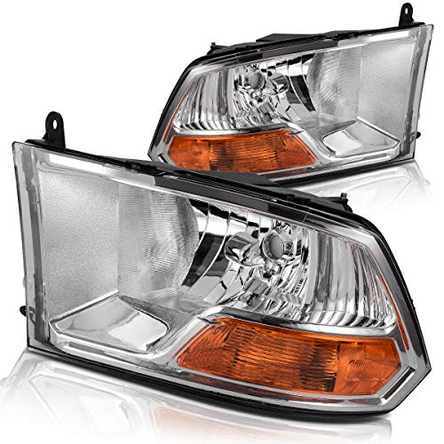Headlight Assembly for 2009-2012 Dodge Ram 1500 2500 3500 Pickup Dual Cab Trims Headlamp Replacement,Chrome Housing Clear Lens