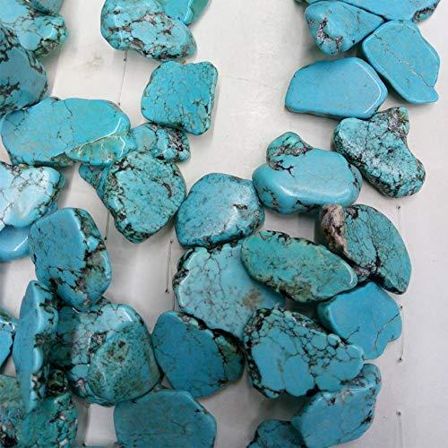 (daisy3010 Necklace for Women - Hot Natural Turquoises Stone Flake Freeform Shape Huge Schistose Beads Horizontal Hole Stone for Earrings Fashion Jewelry Making - White)