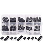 Bopfimer 85 Pieces 10 Types Integrated Circuit Chip Assortment Kit, DIP IC Socket Set for Opamp Single Precision Timer Pwm