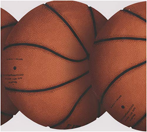 Orange Basketballs Sports Wallpaper Border Retro Design, Roll 15' x -