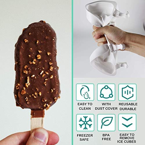 FADIKX 2 Pcs Silicone Popsicle Molds, Silicone Funnel Homemade Ice Cream Mold with 4 Cavities 50 Wooden Sticks & 2 pcs Wooden Hammer for DIY Ice Cream Cake